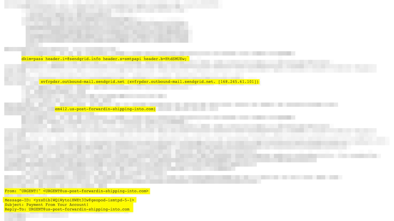 header of ransom email
